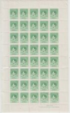 Stamps 1937 Papua 1d green Coronation of KGV1 sheet of 40, MUH but tone spots