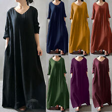 Zanzea Women V-neck Long Sleeve Loose Long Maxi Dress Kaftan Robe Plus Size New