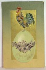 PostCard A Joyful Easter Rooster Floral Egg Posted Stamped 4-15-1908 Vintage