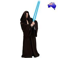 Mens Adult Star Wars Jedi Master Black Hooded Robe Halloween Fancy Dress Costume