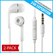 2-PACK EAR HEAD BUDS EARPHONES PODS ECOUTEUR- MIC & VOLUME FOR SAMSUNG WHITE