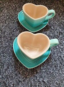 1 pair of Le creuset Cool mint Heart Shaped Mug Sets.