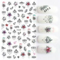 Nail Art Water Decals Stickers Transfers Gems Lace Tribal Flowers Jewels (F449)