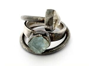 Lilly Barrack .925 Silver Raw Aquamarine & Herkimer Diamond Ring Size 7