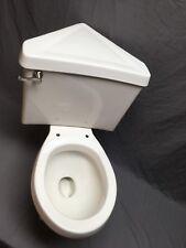 Rare Vtg White Porcelain Complete Corner Toilet Bowl Tank Lid Old Eljer 264-18E