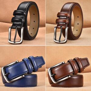 Classic Genuine Leather Men's Belt Classic Retro Reversible Pin Buckle Waistband