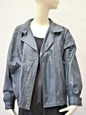Size L (14 / 16 ) Navy Relaxed Leather Blouson Vintage Jacket