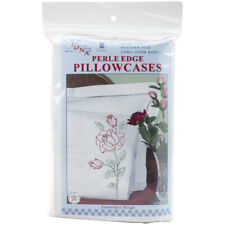 Jack Dempsey Stamped Pillowcases W/White Perle Edge 2/Pkg-Long Stem Rose