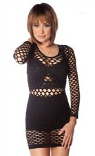 Sexy Black fishnet off shoulders style fitted tunic top punk rocker cover-up new