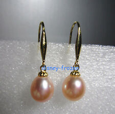Hot AAA 9-10mm NATURAL South Sea Pink Baroque Pearl Earrings 14K YELLOW GOLD