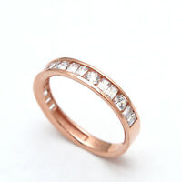 0.80CT BRILLIANT ROUND BAGUETTE CREATED DIAMOND RING SOLID 14K GOLD CHANNEL BAND