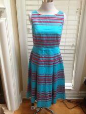 Talbots Aqua Blue Red Stripes Gorgeous dress Size 4