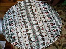 "Vintage Christmas Tablecloth Round 67"" Across Santa, Bunnies, Snowmen, Reindeer"