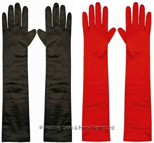 Satin Elbow Length Evening Gloves 20s Flapper Xmas Santa Elf Ladies Fancy Dress