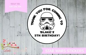 Personalised Star Wars circle round labels stickers thank you Storm Tropper
