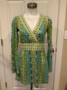 Athleta Blue & Green Bohemian Floral Print Shirt Dress, Size XS