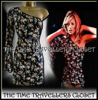 BNWT Kate Moss Topshop Black Hawaiian Floral Lotus One Shoulder Dress UK 12