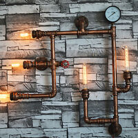 Vintage Industrial Steampunk Retro Iron Water Pipe Wall Light Sconce Lamp Gift
