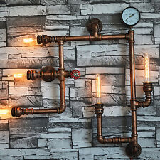Vintage Industrial Steampunk Retro Iron Water Pipe Wall Light Sconce Lamp Loft·