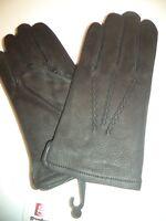 Mens Grandoe 100% Cashmere Lined Leather Gloves,Black,Large