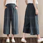 Vintage Casual Loose High Waist Cotton Linen Cropped Trousers Wide Leg Pants
