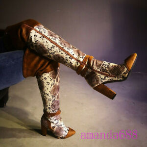 Women Pointed Toe Snakeskin Leather Over the Knee Fashion Boots Sexy Heels Shoes
