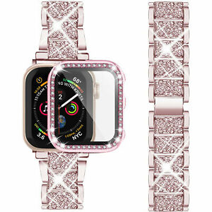 Bling Metal iWatch Strap+Full Screen Case For Apple Watch Series SE 6 5 4 3 2 1
