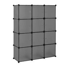 [neu.haus] Systemregal DIY Kleiderschrank 12 Türen 144x110cm Schwarz/Transparent