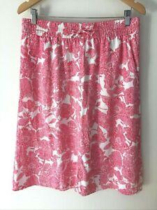 Sportscraft Women's Floral Skirt Size 12 Pink White Lyocell Elastic Waist
