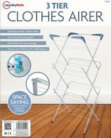 3 Tier Clothes Airer Rack Horse Winged Dryer Indoor Outdoor Washing Fold-able