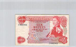 ILE MAURICE 10 ROUPIES ND (1967) N° A11 992561 PICK 31 b