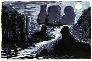 Fine Art Print Moon Purple Black Lake Rocks Cliffs Guardians of the Temple