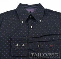 ROBERT GRAHAM Blue Polka Dot 100% Cotton CROWN Mens Casual Dress Shirt - MEDIUM