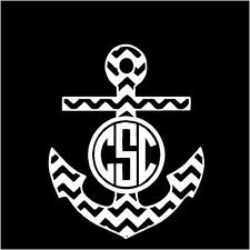 """Anchor Sticker Chevron with YOUR  Initials  4"""" x 5""""  in WHITE"""