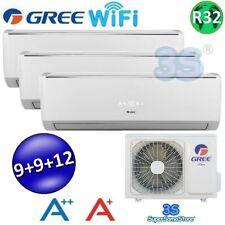 3S CLIMATIZZATORE TRIAL 3 SPLIT 9+9+12 BTU Wi-Fi GREE CONDIZIONATORE A++ A+ New