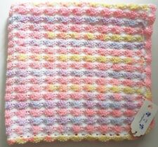 "HAND MADE CROCHET BABY BLANKET,CAR, COT, PRAM - RAINBOW & WHITE, SHELL 26"" X 26"""