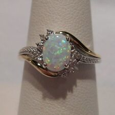 New~Alwand Vahan~Opal & Diamond 10k Yellow Gold & 925 Sterling Silver Ring Sz 9