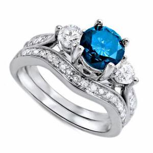 Solid 10k White Gold 2.40ct Blue & Simulated Diamond Three Stone Bridal Set