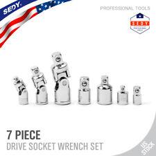 "7pc 1/4"" 3/8"" 1/2"" Drive Universal Joint Adapter Socket Set Flex U Joint Wobble"