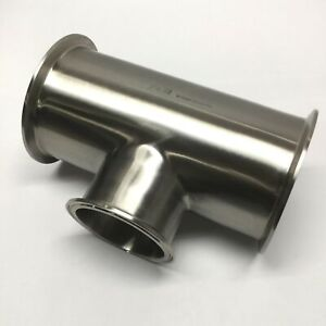 "Dixon B7RMP-G400300 Clamp Reducing Tee Sanitary Fitting 4"" x 3"" 304 Stainless"