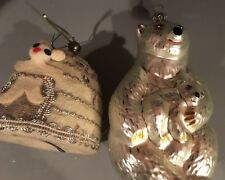 2 POLAR BEAR CHRISTMAS ORNAMENTS _ MR CHRISTMAS IGLOO & GLASS POLAR BEAR