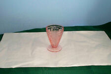 """PINK DEPRESSION GLASS CHERRY BLOSSOM FOOTED TUMBLER 3.75"""" JEANNETTE"""