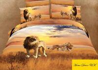 Double size Lions print 3d duvet cover bedding set 100% cotton