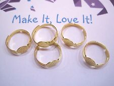 5 x GOLD PLATED RING BLANK 8MM PAD ADJUSTABLE FOR CABACHON