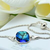 925 Silver Adjustable Bracelet 12mm Bermuda Blue Crystals from Swarovski®