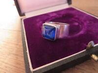 Schöner 925 Silber Ring Blau Modern Klassiker Vintage Groß Massiv Designer Top