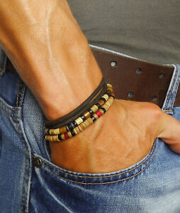 Australia Mens Beaded Bracelet Leather Beads Man Surfer Wristband Rope Wrap Set