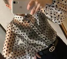Women's Organza Polka Dot Blouse Puff sleeve White M