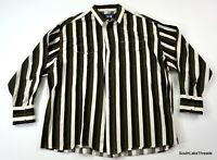 VTG Men's 2XL Wrangler Western Snap Button L/S Striped Shirt Green Black White