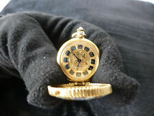 RARE VINTAGE NECKLACE WATCH LOCKET CLINTON WIND VICTORIAN STYLE GOLD GILT CHARM